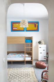 modern moroccan shared kids room with wooden bunk bed dweef com