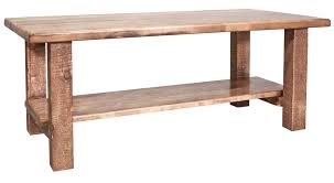 homestead timber frame coffee table with shelf stained lacquered