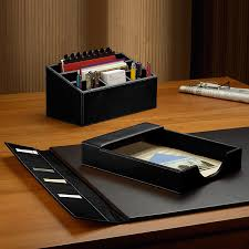 Leather Desk Organizers Desk Set Three Pieces Leather Desk Set Desk Accessories