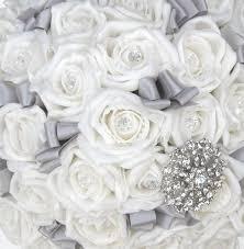 silver flowers brides ivory diamante classic silver brooch wedding bouquet