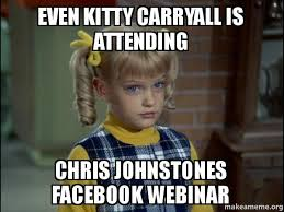 Webinar Meme - even kitty carryall is attending chris johnstones facebook webinar