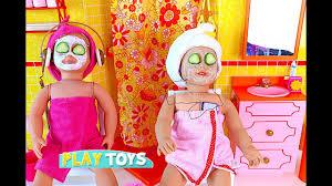 play ag doll day spa in doll bathroom u0026 bedroom w doll bunk bed