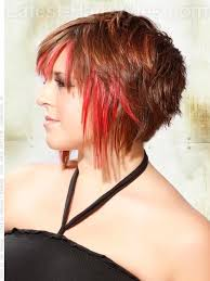 haircuts with long sides and shorter back bright red highlighted angled cut shorter in the back hair