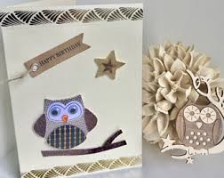 owl birthday card etsy