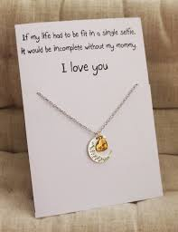 gift for mom mother and daughter gift card love you mom pendant stone necklace on