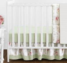 Shabby Chic Crib Bumper by Riley U0027s Roses Pink And Sage Green Shabby Chic Floral Baby