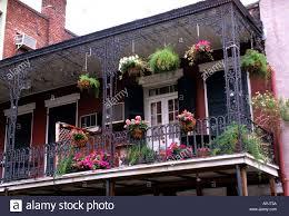 new orleans bourbon street balcony flowers house stock photo