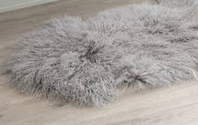 Fur Runner Rug Light Grey Mongolian Sheepskin Fur Floor Runner Rug Eluxury Home