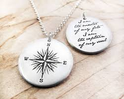 compass necklace invictus graduation i am the master of my fate
