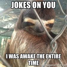 Sloth Meme Jokes - jokes on you i was awake the entire time creepy sloth rape meme