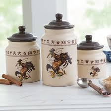 western kitchen canisters bronco canister set rods western palace ranch house decor