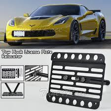 lexus f sport black steel license frame for 15 up chevrolet corvette c7 z06 front bumper tow hook license