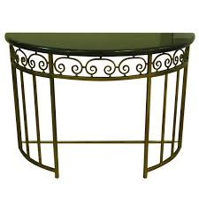 half round metal console table with marble top on chairish com