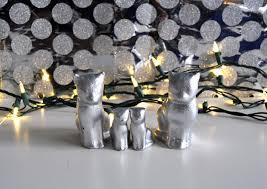 4 silver cat ornament set modern cat ornament silver