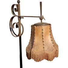 Wrought Iron Floor Lamps Vintage Art Nouveau Quality Wrought Iron Floor Lamp With Leather