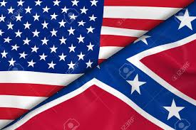 Confederate Flag And Union Flag Flags Of The United States Of America And The Confederacy Divided