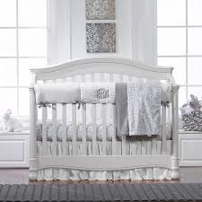 White Crib Set Bedding Simply White And Gray Bumperless Bedding Liz And Roo