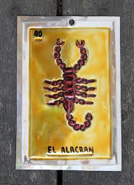 mexican tin loteria card el alacran scorpion ornament oaxaca folk