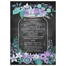 jar bridal shower invitations chalkboard jar purple and green flowers bridal wedding