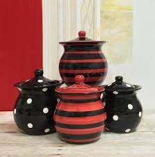86501 black red polka dot collection ceramic 4pc canister set by