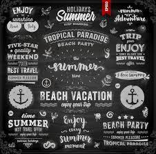 vintage summer logos with ornaments design vector 02 design