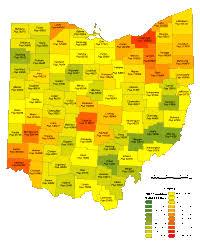 map of counties in ohio editable ohio county populations map illustrator pdf digital