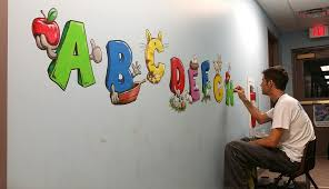 alphabet daycare mural free sky studios professional mural aplhabet mural painting troy freeman