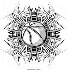 royalty free of a logo of a black and white basketball and tribal
