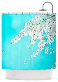 monika strigel hanami teal white shower curtain contemporary