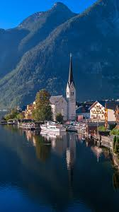 wallpapers hallstatt austria mountains lake coast marinas 1080x1920