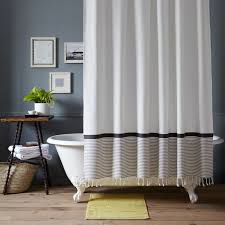 bathroom natural white ikat shower curtain for modern interior