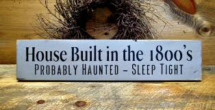 wooden sign halloween decor funny fall sign house built in