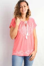 peasant blouse coral embroidered peasant blouse forgottengraceonline