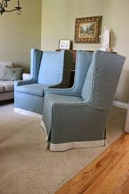 Custom Slipcovers By Shelley Custom Slipcovers By Shelley Grey Linen Wingbacks