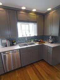 smoke arabesque glass tile gray kitchens arabesque and glass