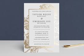 wedding invitations minted gilded bloom foil pressed wedding invitations by christie