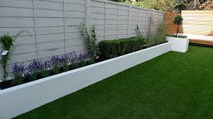 Fencing Ideas For Small Gardens Grass Raised Beds Modern Painted Fence Small Garden Design Idea