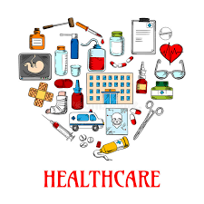 heart icon with healthcare and medical sketches stock vector