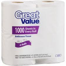 great value 1000 sheets toilet paper 4 count walmart