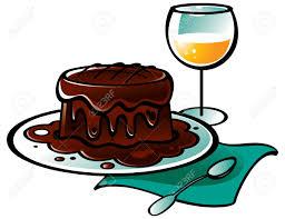 chocolate con leche cake y vaso de vino ilustraciones vectoriales