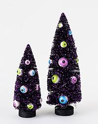spooky black bottle brush sisal tree with eyeball