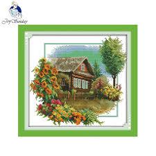 joy sunday scenery style house with flowers pinterest cross stitch
