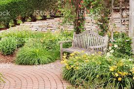 backyard garden outdoor landscape brick patio wall wooden