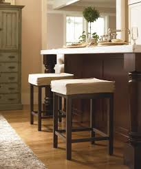 kitchen island instead of table backless white fabric cushioned bar stools combined classic