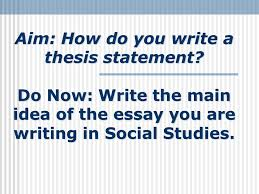 Thesis Statement A thesis statement is a complete sentence that contains the main idea of your SlidePlayer