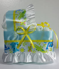 diaper cake beautiful bassinet carriage baby shower gift blue