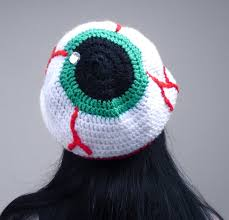 creepy eyeball hat crochet slouchy beanie spooky human eye hat