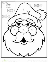 color number santa worksheet education