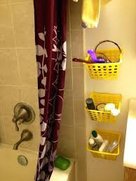 storage for tiny bathroom using dollar baskets and hooks shower curtain rings crazy crafts helpful dollar shower curtain ring