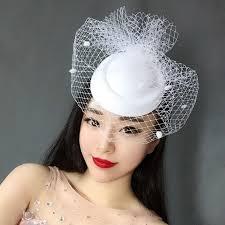 retro hair accessories woman headdress hair retro white hat veil palace gauze